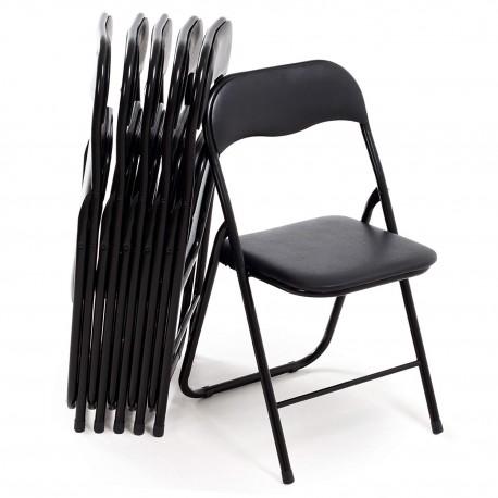 Lot de 6 chaises pliables en métal de couleur noir pour intérieur, camping, extérieur
