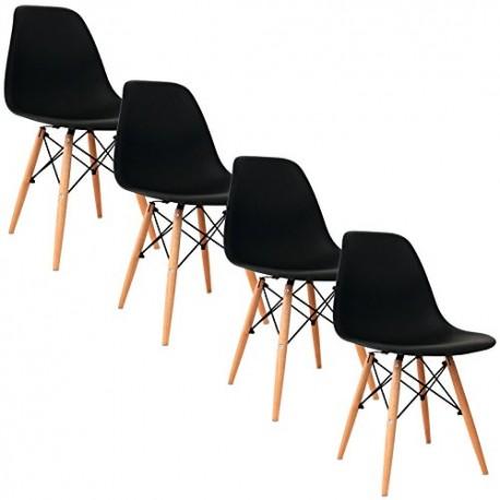 Lot de 4 chaises nordiques EMI design noir style scandinave
