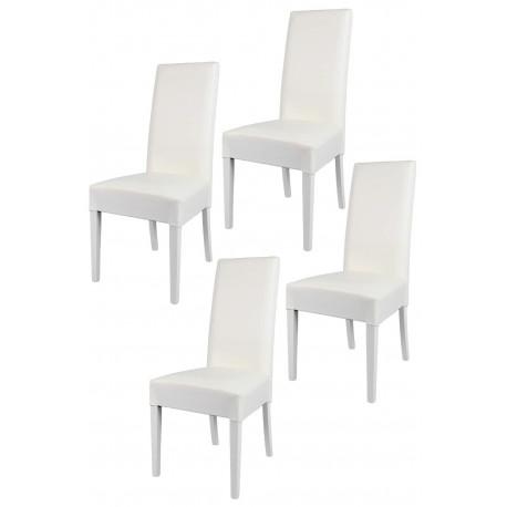 Lot de 4 chaises modernes LASI blanches avec assise en cuir
