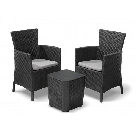 Ensemble Chaise Table De Jardin Gris Albe