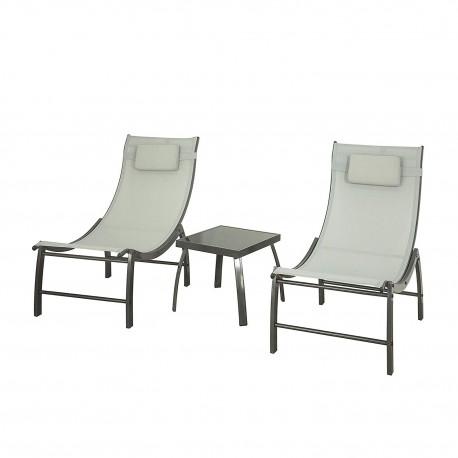 Ensemble de jardin 2 fauteuils + 1 table en métal et verre