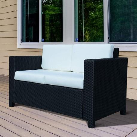 Canapé de jardin 2 places déhoussable SUNN en résine tressée noire