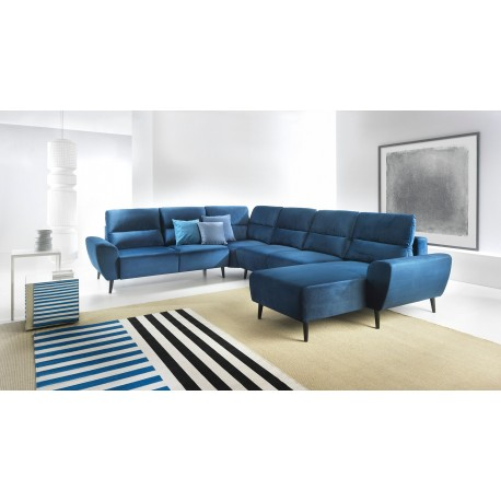 Canapé panoramique BOSCO style scandinave nordique tendance et moderne en bleu