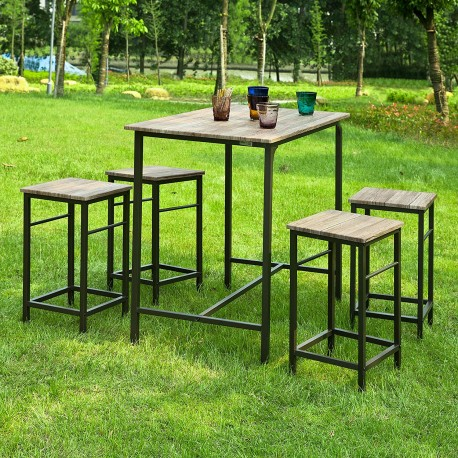 Lot de table + 4 tabourets avec repose-pied manger debout