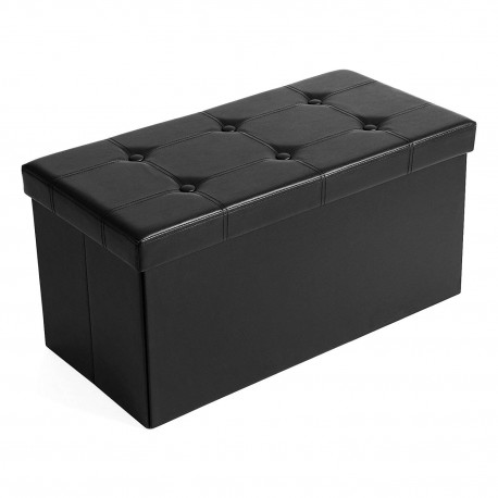 Pouf coffre de rangement MICS noir pour jouets, magazine ou serviettes