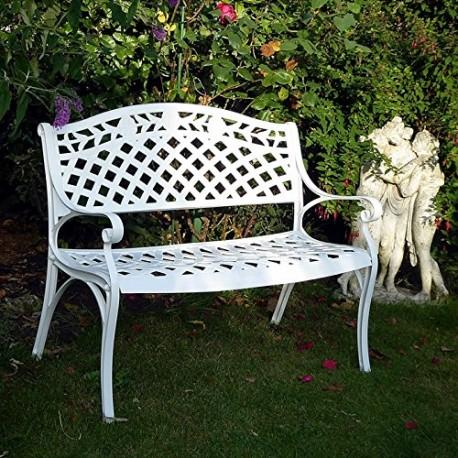 RISA - Banc de jardin en aluminium blanc 2 places