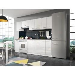 Cuisine complète 240 cm ONYX blanche parfaite pour petit espace et petit budget