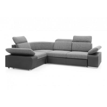 Canapé d'angle convertible ODESSA mini en L en gris maille et noir