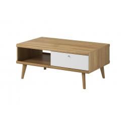 Table basse scandinave PRIMO avec pieds en bois et tiroir de rangement