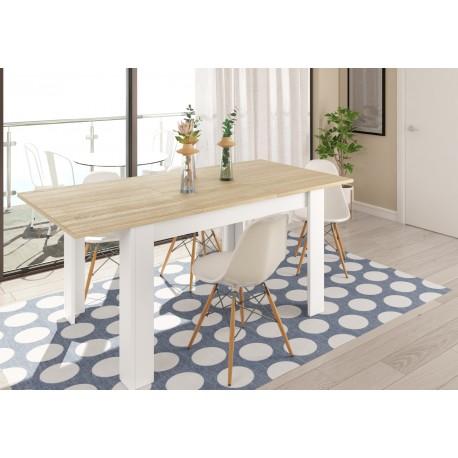 Table extensible scandinave KENDA bois et blanc style nordique