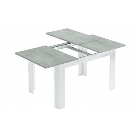 Table extensible KENDA plateau couleur béton gris et pieds blanc 140 - 190 cm