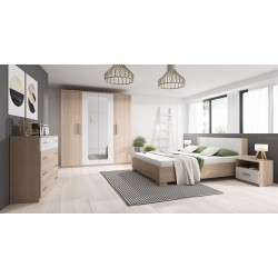 Chambre à coucher complète MARCO bois et blanc avec commode, lit de 160x200 et 2 tables de nuit