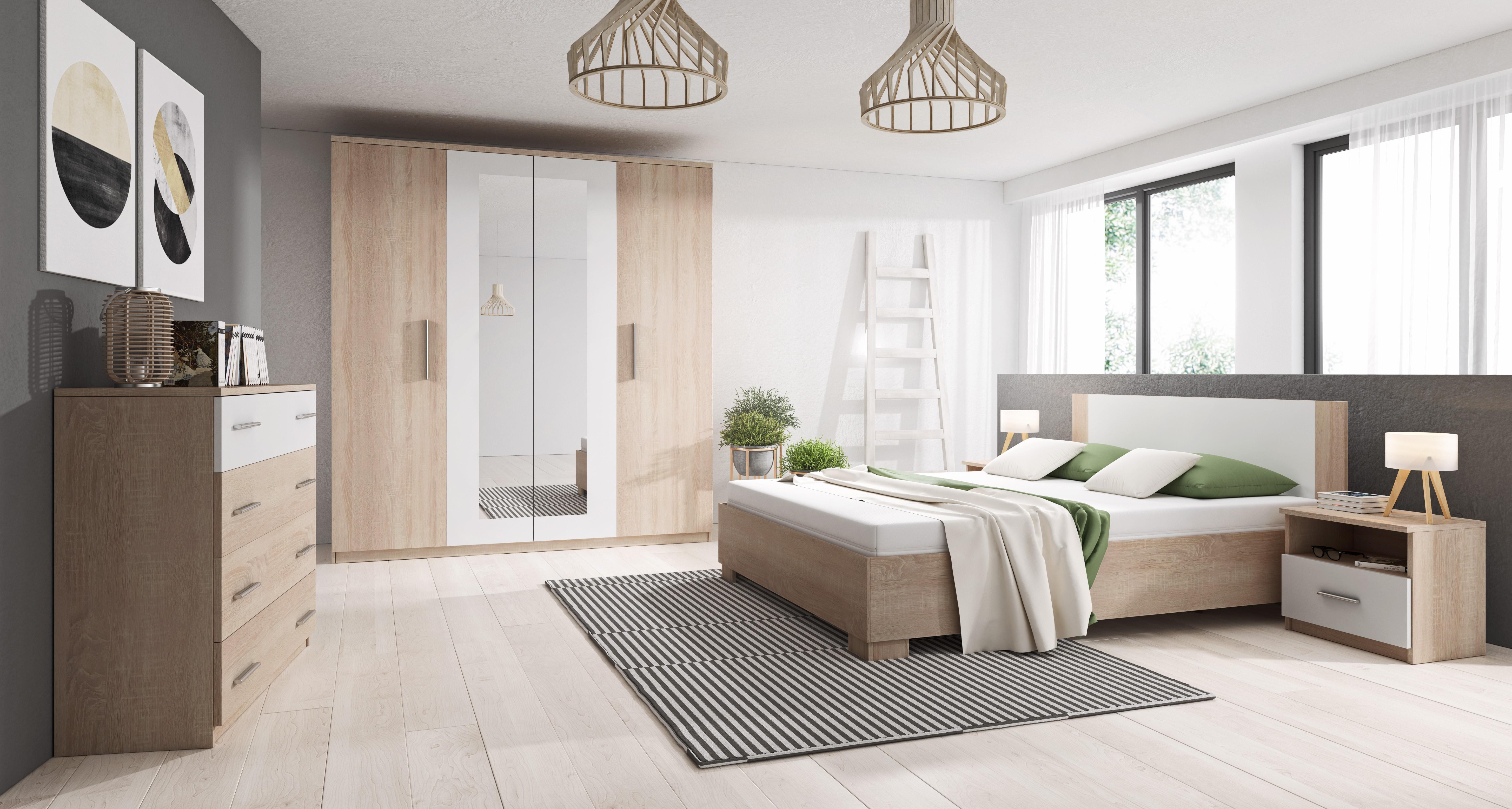 Chambre à coucher complète MARCO bois et blanc à moins de 400 euros