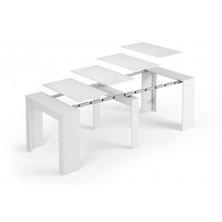 Table extensible ALGA blanc laqué différentes positions