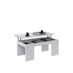 Table Basse CENDA Blanc avec Plateau Relevable