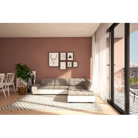 Canapé d'angle convertible GALI gris et blanc