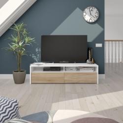 Meuble TV style scandinave pas cher bois et blanc KIOTO télé