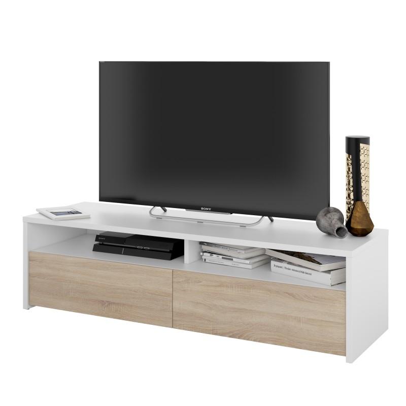 Meuble Tv Style Scandinave Bois Et Blanc Kioto