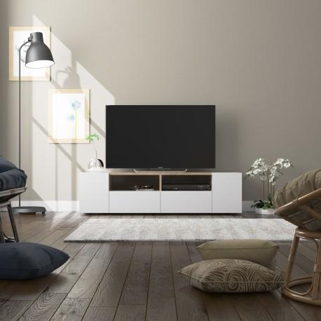 Meuble TV scandinave TAMIKO bois et blanc moderne et design pas cher