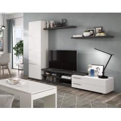 Ensemble meuble de télé ADHARI blanc et gris cendre