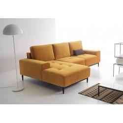 Canapé d'angle convertible VERO jaune moutarde velours