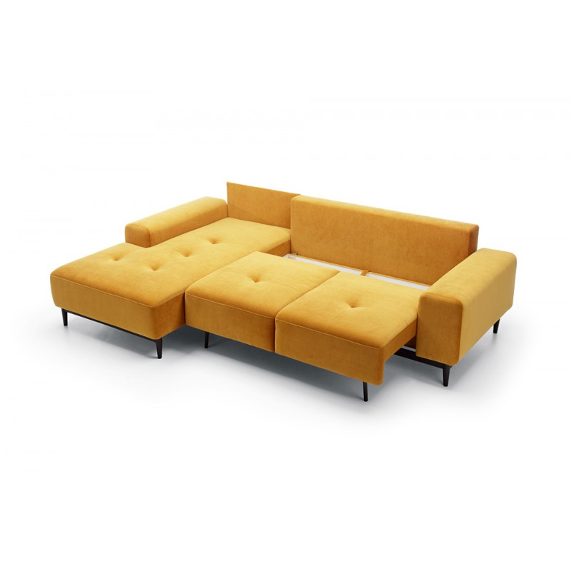 pas mal 0827d 7fb97 Canapé d'angle convertible VERO couleur jaune moutarde velours