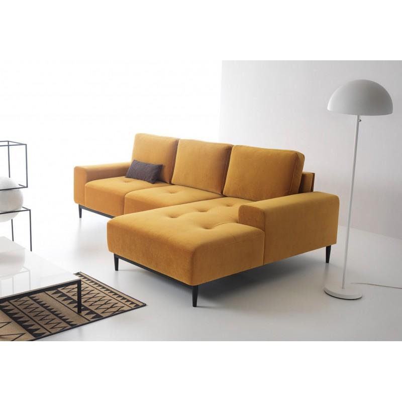 canapé d'angle convertible vero couleur jaune moutarde velours