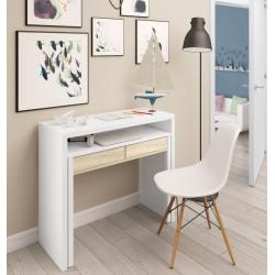 2 en 1 bureau / console extensible LINA bois, blanc ou gris