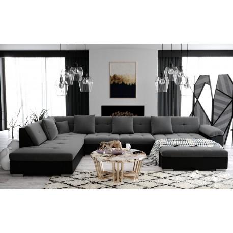 Canapé d'angle panoramique en u ATIS moderne et design en tissu tendancegris et noir ou blanc