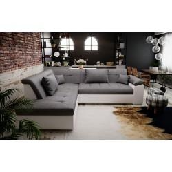 Canapé d'angle convertible LITO design avec lit en tissu et simili cuir gris et blanc pas cher