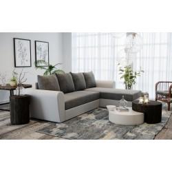 Canapé d'angle convertible et réversible OXFO gris et noir ou gris et blanc avec lit