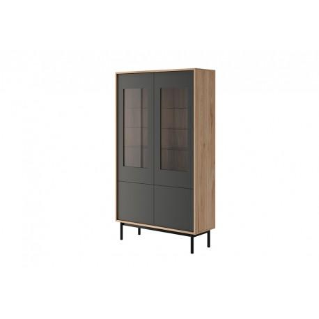 Vitrine 2 portes vitrées industrielle BASI 104 cm style loft moderne