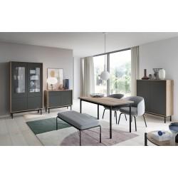 Salle à manger complète industrielle BASI bois et gris avec pied métal pas cher