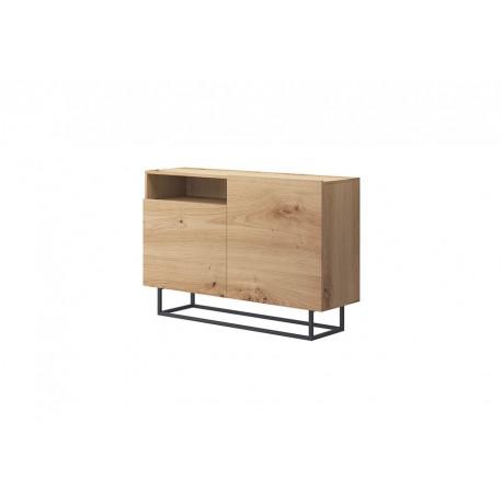 Commode industrielle ENJOY 120 cm 2 portes bois, gris ou blanc