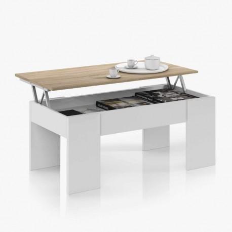 Table Basse CENDA Blanc et chêne avec Plateau Relevable scandinave