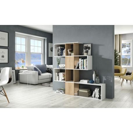 Etagère ZIG ZAG style scandinave bois chêne et blanc contemporain moderne et design