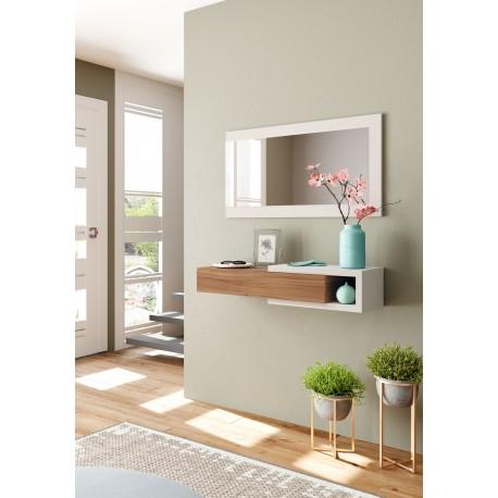 meuble d 39 entr e r versible avec 1 tiroir et miroir bois et blanc