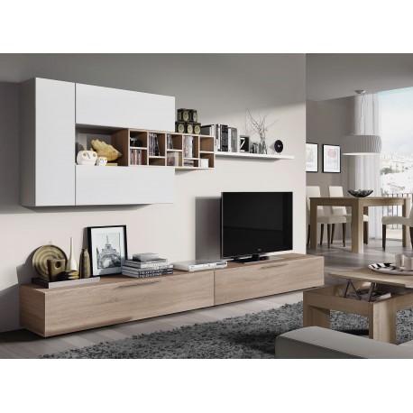 Meuble télé DELO 260 cm design style scandinave bois chêne et blanc design