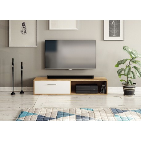 Meuble télé de 140 cm TILA bois et blanc ou gris moderne et pas cher