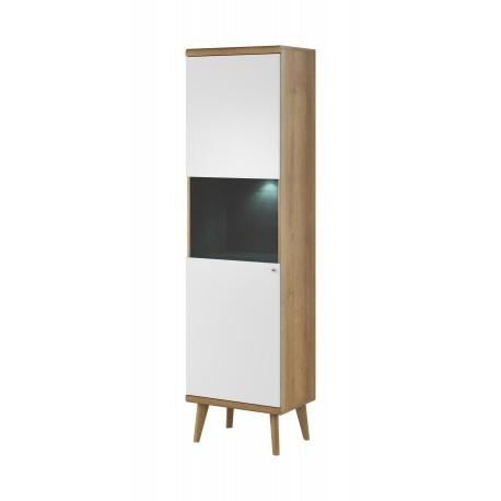 Vitrine de 50 cm PRIMO scandinave bois et blanc