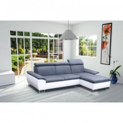 Canapé d'angle CAYENNE 4 places gris et blanc design