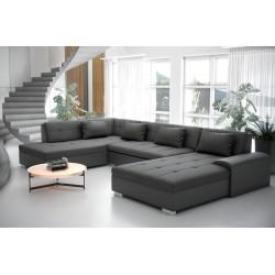 grand Canapé d'angle panoramique en u convertible LIBERTIS pour famille nombreuse - couleur gris en tissu lavable
