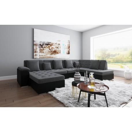 Canapé d'angle panoramique ALIA en U et gris et noir groupon