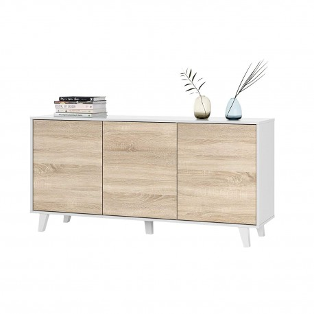 ZAIKI - Buffet contemporain blanc et decor chene style scandinave - L 154 cm