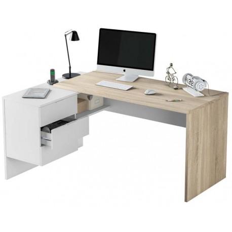 Bureau angle avec caisson 3 tiroirs
