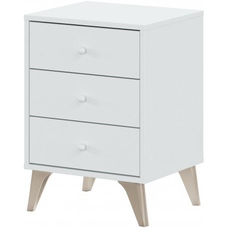 Table de chevet avec 3 tiroirs SWEET style scandinave nordique blanc et bois