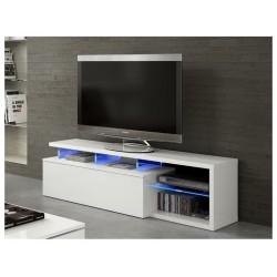 BLIE - Meuble TV avec Led Blanc Brillant 150 cm