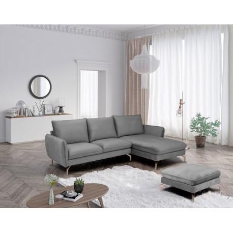 Canapé d'angle LOVI gris avec pieds en chrome