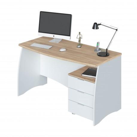 Bureau avec caisson 3 tiroirs LIRA style scandinave