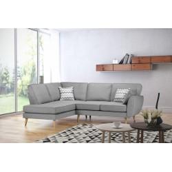 Canapé d'angle scandinave ZARI gris avec pieds bois